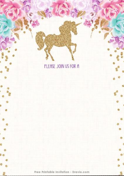 Free Printable Invitations Template Free Printable Golden Unicorn
