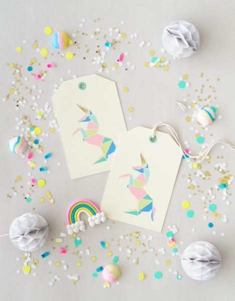 Free Printable Origami Unicorn Gift Tags