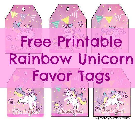 Free Printable Rainbow Unicorn Favor Tags