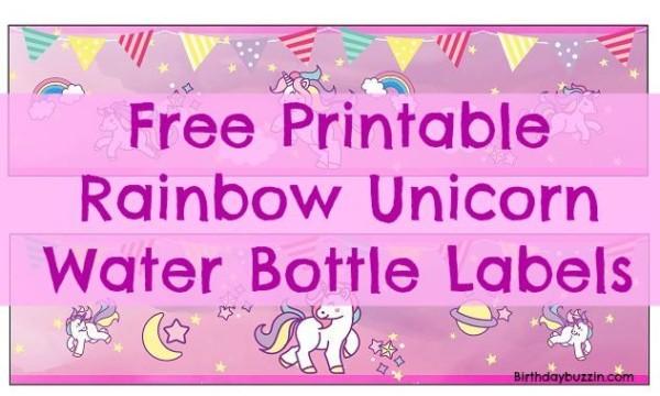 Free Printable Rainbow Unicorn Water Bottle Labels