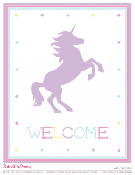 Free Unicorn Party Printables Welcome Sign