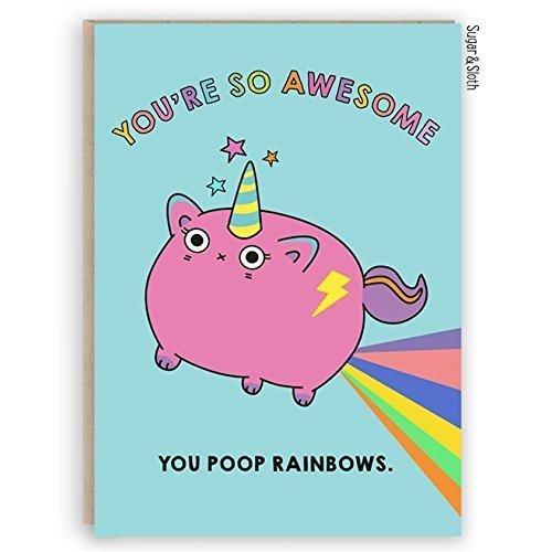 Funny Best Friend Unicorn Cat Card, Friend Birthday Card, Unicorn
