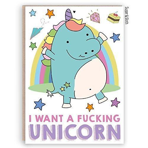 Funny Birthday Card, Rude Swear Word Card, Kawaii Unicorn Birthday