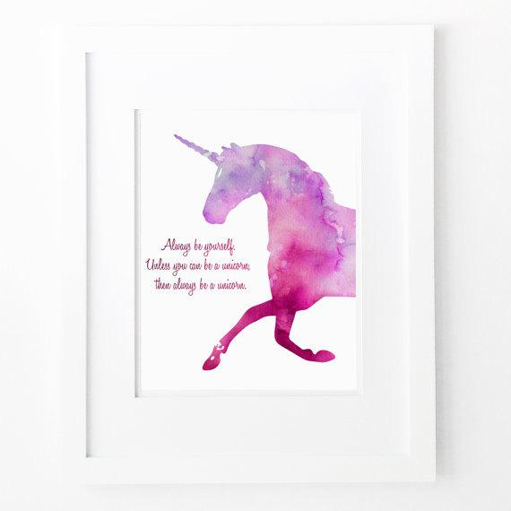 Funny Quotes Download Purple Unicorn Printable Girls Nursery