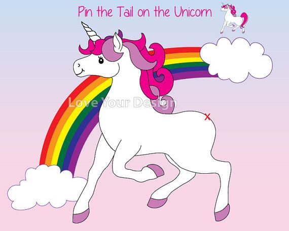 Game Pin The Tail On The Unicorn Birthday Party Game And Coloring
