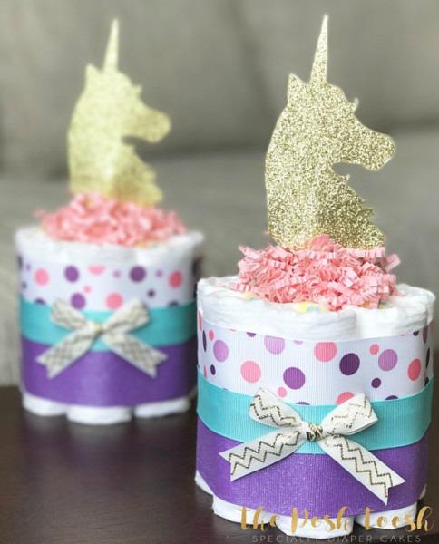 Girl Unicorn Diaper Cake, Baby Shower Gift, Baby Shower