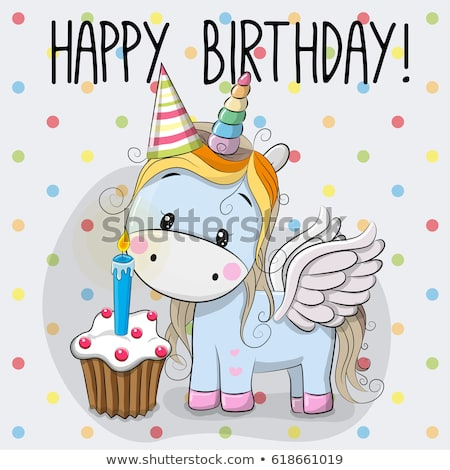 Greeting Card Cute Cartoon Unicorn Cake Stock Vector (royalty Free