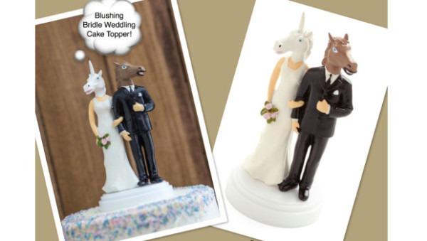 Horse + Unicorn = Whimsical Barn Wedding Cake Topper