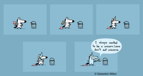 Illustration Art Cartoon Comic Zebra Unicorn Sebastien Millon