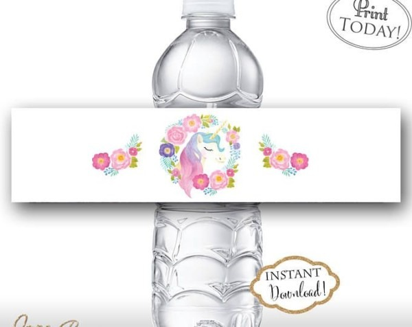 Free Unicorn Water Bottle Labels