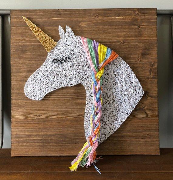 Items Similar To Unicorn String Art Sign On Etsy