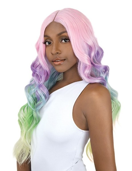 Its A Wig Synthetic Unicorn Color Lace Front Wig Body Wave