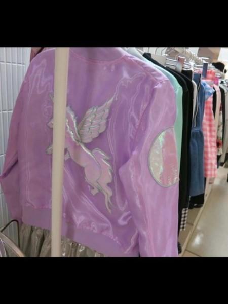 Jacket, Bomber Jacket, Lolita, Girly, Holographic, Unicorn, Kawaii