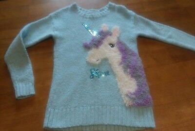 Justice Girls Unicorn Fuzzy Sweater Size 7, Pretty!