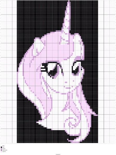 Knit Unicorn Head Chart, Unicorn Intarsia Knitting, Unicorn Graphs