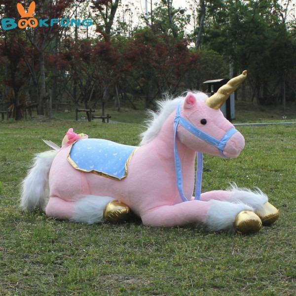Large Stuffed Animals Lying Unicorn Plush Toy Pink Doll High