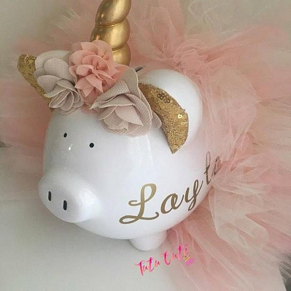 Light Pink, Lavender & Aqua Unicorn Tutu Piggy Bank, Girls Piggy