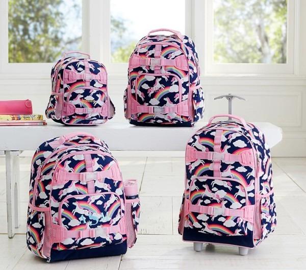 Mackenzie Navy Rainbow Unicorn Backpack