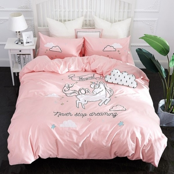 New Pink Unicorn Bedding Sets Embroidery Bed Set Double Twin Queen