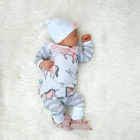 Newborn Take Home Outfit Baby Girl Unicorn And Scallops With