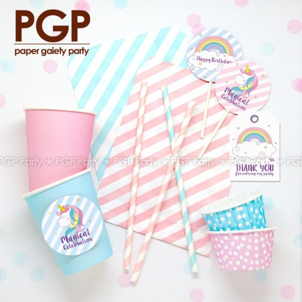 Pgp] Unicorn Party Set, Cake Topper Tag Cup Magical Dream Rainbow