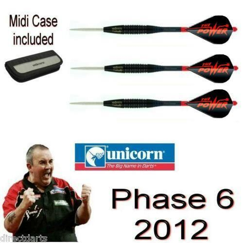 Phil Taylor Black Phase 6  Phase 6 Darts  Complete Set  With Midi