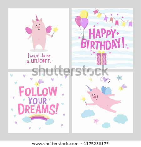 Pig Unicorn Quotes Cards Set Stock Vector (royalty Free