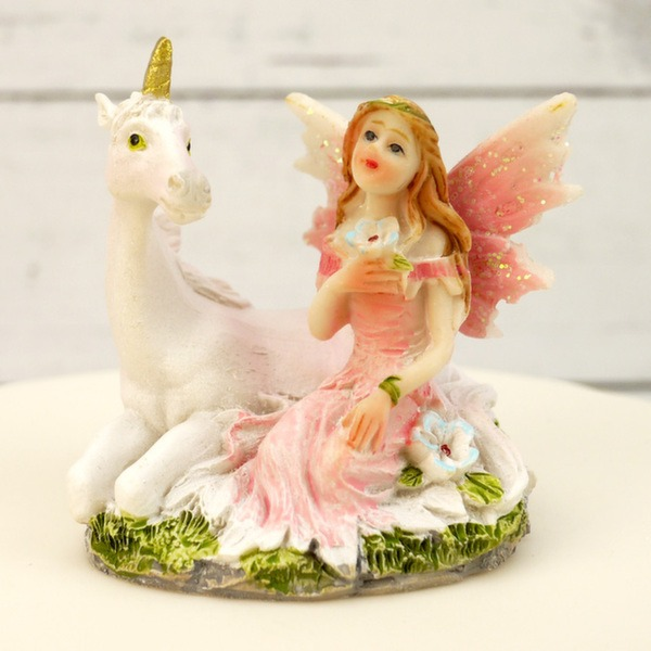 Pink Unicorn And Fairy Cake Topper Decoration