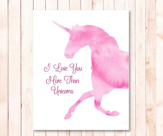 Pink Watercolor Unicorn Quote Printable Baby Girl Nursery Wall Art