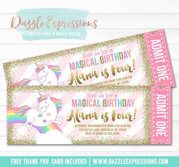 Printable Magical Unicorn Birthday Invitation