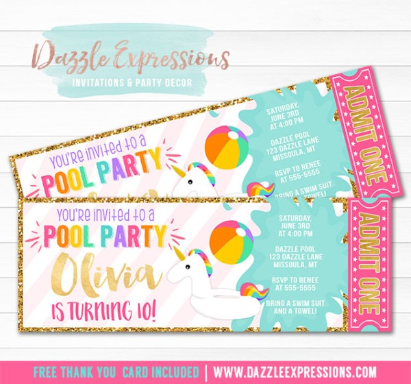 Printable Unicorn Float Pool Party Ticket Invitation