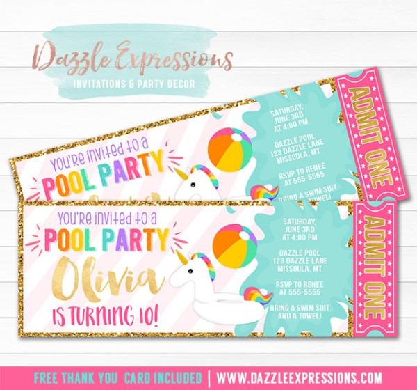 Printable Unicorn Float Pool Party Ticket Invitation