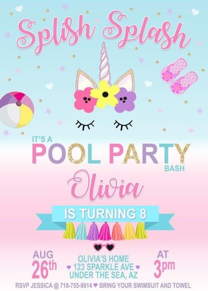 Printable Unicorn Pool Party Invitation Unicorn Party