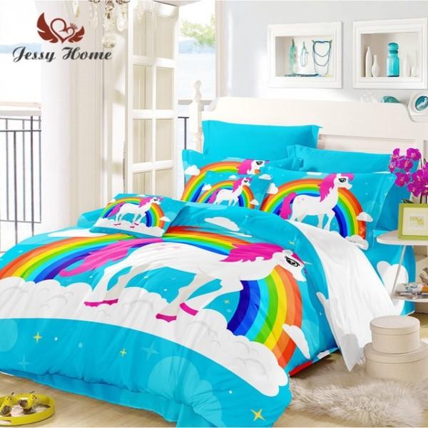 Purple Unicorn Bedding Set Queen Size Sky Blue Duvet Cover Rainbow