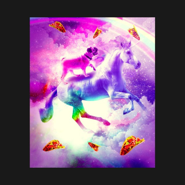 Rainbow Space Pug Riding On Flying Unicorn With Taco