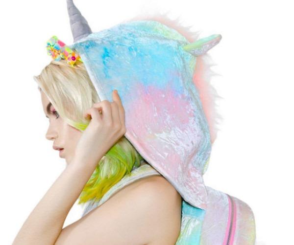 Rainbow Unicorn Hooded Backpack