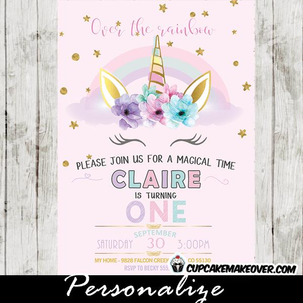Rainbow Unicorn Invitations, Pastel First Birthday Party