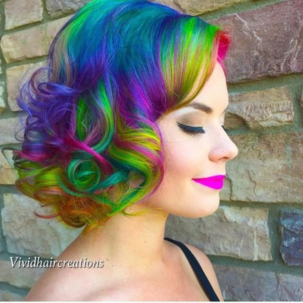 Short Mermaid Hair Rainbow Hair Unicorn Hair Neon Hair Color