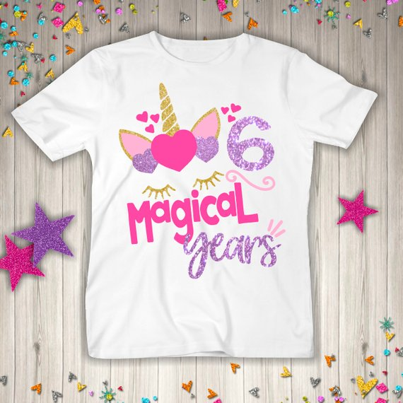 Six Unicorn Birthday Shirt 6th Birthday Girl Six Birthday