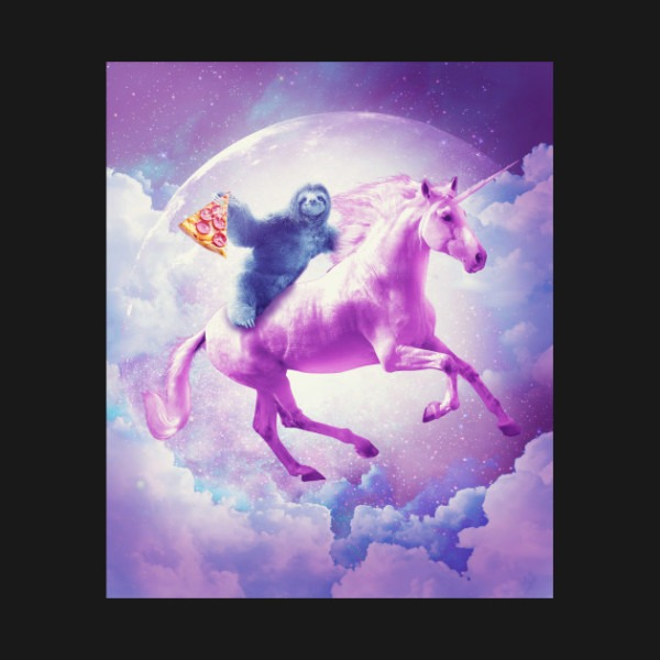 Space Sloth Riding On Flying Unicorn With Pizza