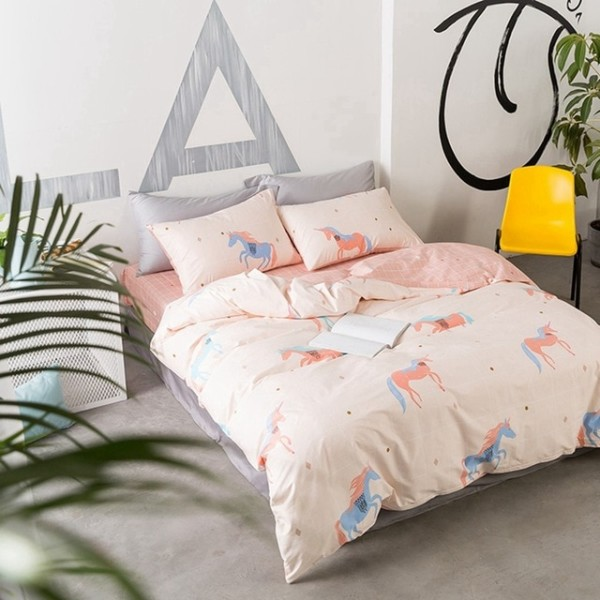 Sweet Pink Unicorn Bedding Set 100  Cotton Duvet Cover Cute Flat
