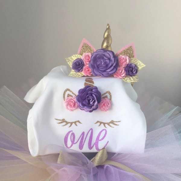 Toddler Baby Girl First 1st Birthday Unicorn Costume Outfit