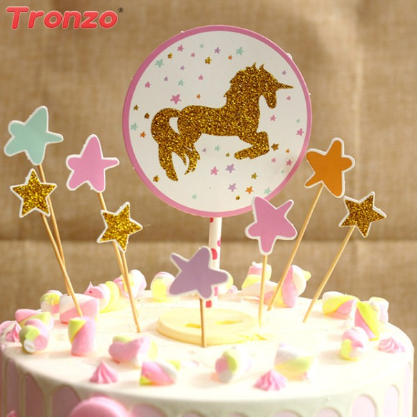 Tronzo Unicorn Cake Topper Happy Birthday Party For Children Star