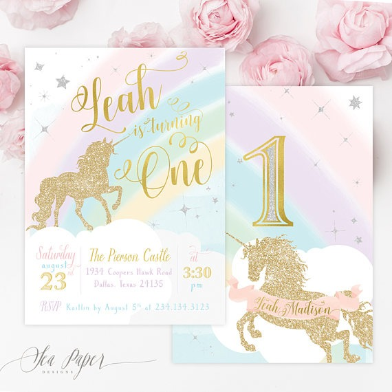 Unicorn 1st Birthday Invitation, Unicorn First Birthday Invitation
