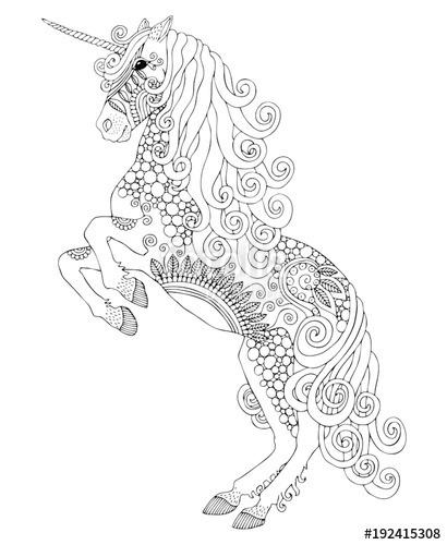 Unicorn  Hand Drawn Fantasy Horse  Sketch For Anti