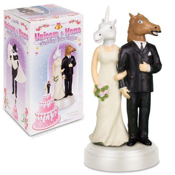 Unicorn And Horse Wedding Cake Topper