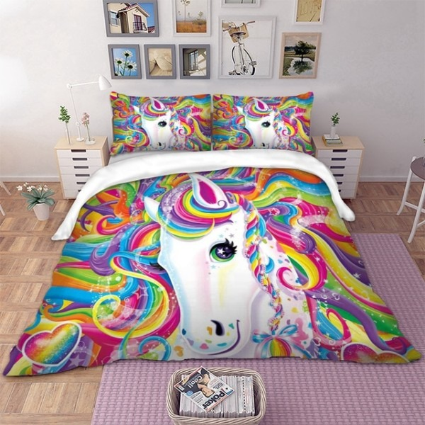 Unicorn Bedding Set Colourful Bed Linen Set Twin Full Queen King