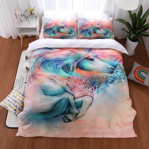 Unicorn Bedding Sets Queen King Size Quilt Cover Colorful Duvet