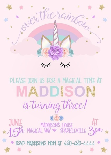 Unicorn Birthday Invitation, Unicorn Party Invitation, Rainbow