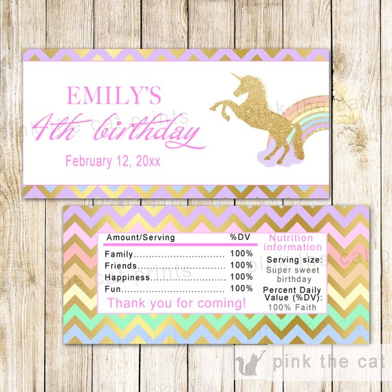 Unicorn Candy Bar Wrapper Unicorn Candy Bar Label Unicorn